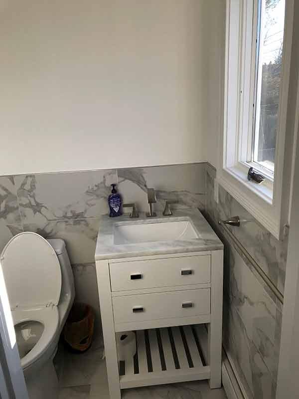 bathroom sink installed